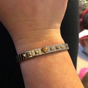 Gold and silver stretchy bracelet